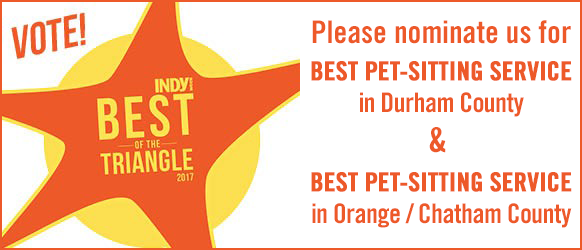 Indy Week Best of 2017 - Please nominate us for best Pet-sitting Service in Durham County & best Pet-sitting Service in Orange / Chatham County